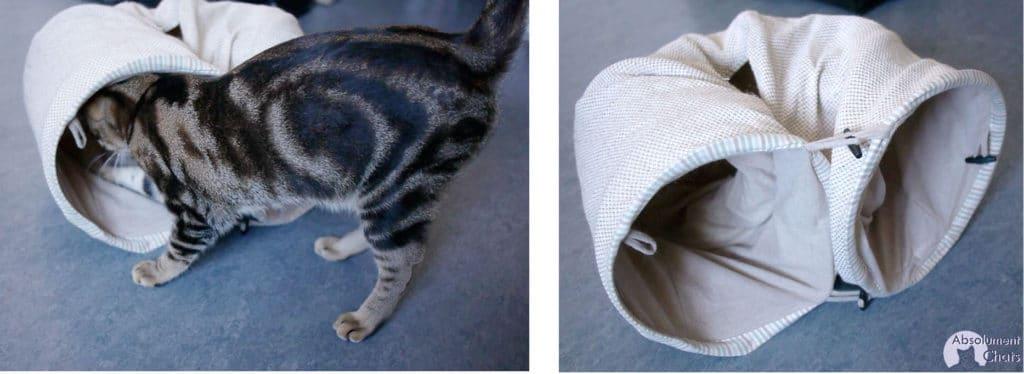 l'escargot!- tunnel natural zooplus- idées simples et pas chères pour amuser les chats- Absolument Chats