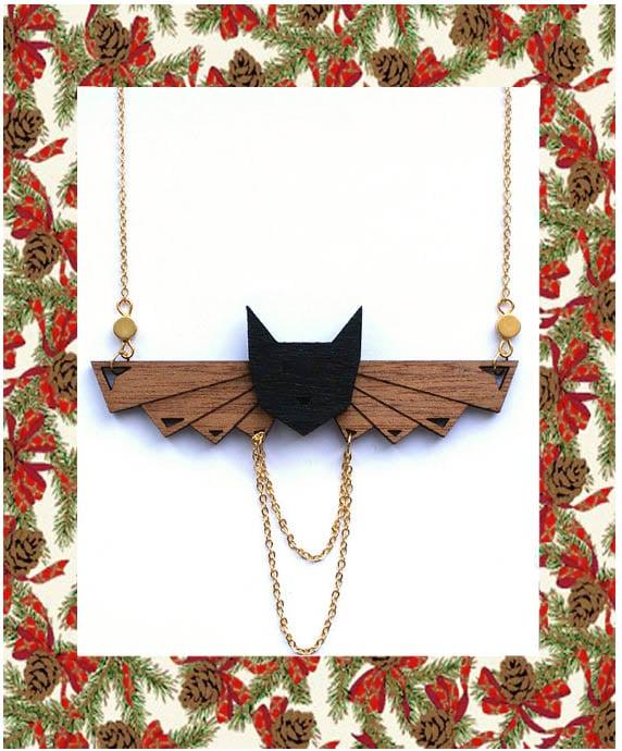 idées cadeaux noel-sautoir chat noir 2